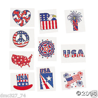 72 4th of July Summer PATRIOTIC Party Favors Glitter Accent TATTOOS  - 4th Of July Party