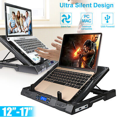"2 Fans Gaming Laptop Cooling Pad Adjustable Stand USB Cooler Tilt for 12"" to 17"""