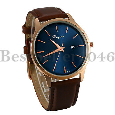 Mens Date Analog Quartz Watches Brown Leather Band Blue Dial Sport Wrist Watch Date Brown Leather