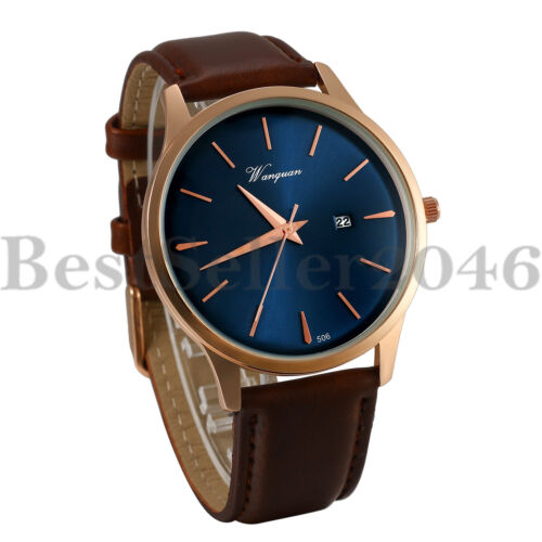 Mens Date Analog Quartz Watches Brown Leather Band Blue Dial
