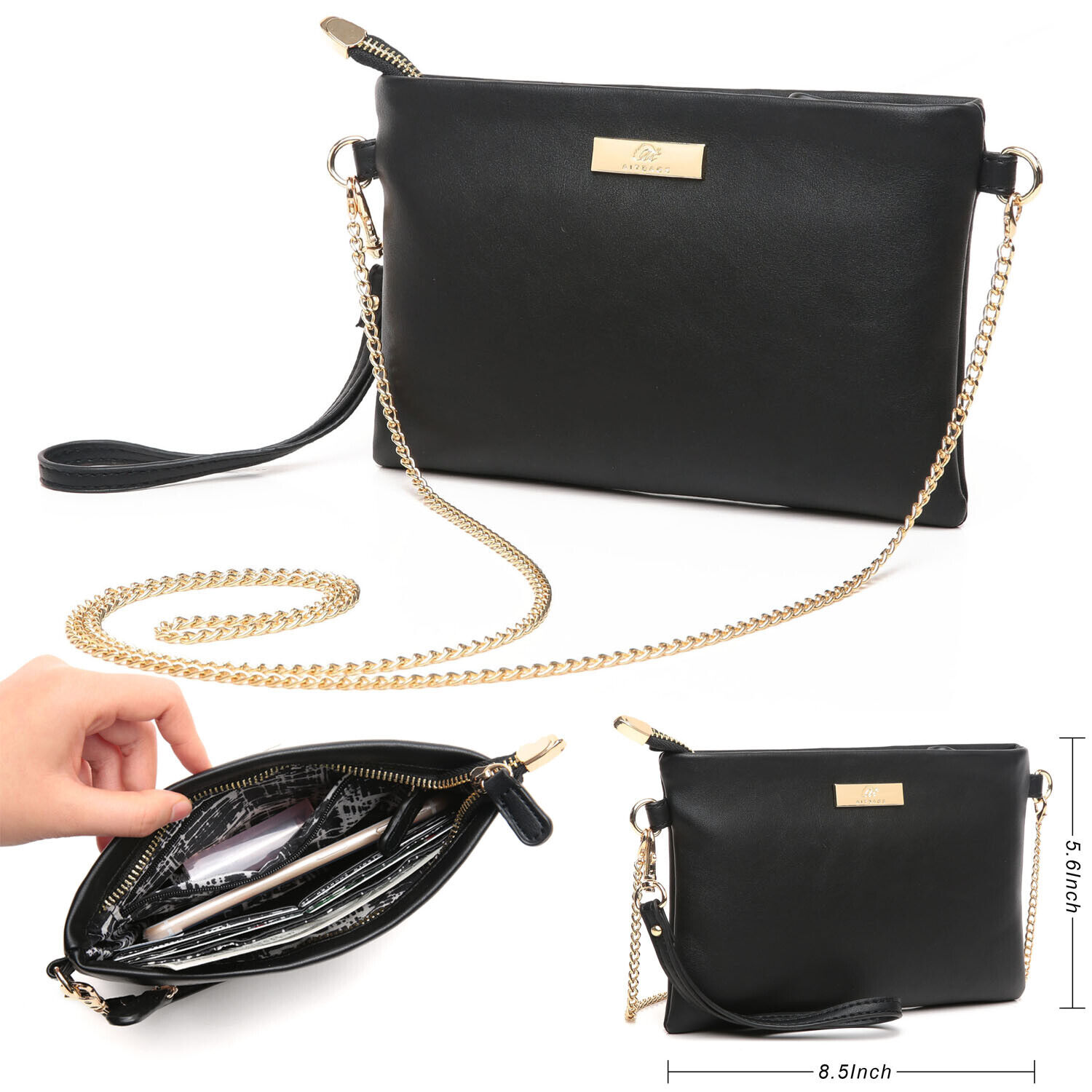 leather crossbody bag with chain strap women