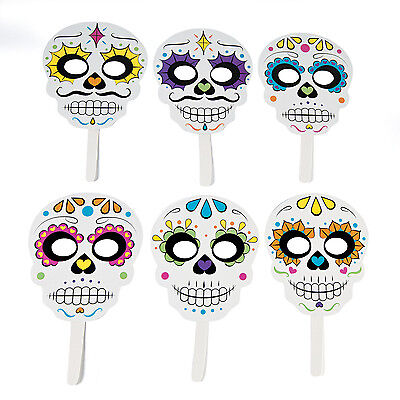 6 Halloween sugar skull DAY OF THE DEAD masks on stick Party Favor Dia Muertos - Halloween Party Day