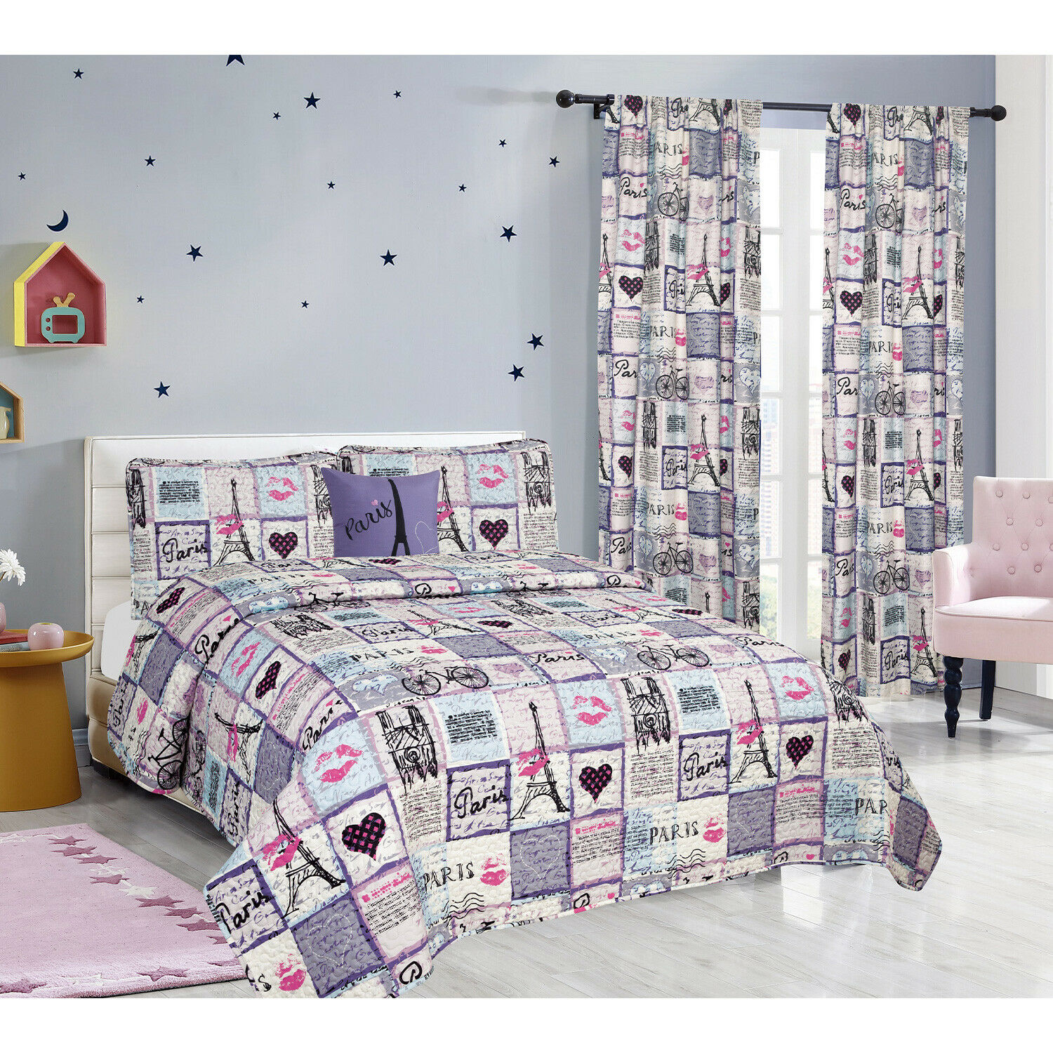 Twin, Full/Queen or King Paris Quilt Set or Curtains Eiffel Tower Pink Purple Bedding