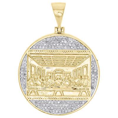 10K Yellow Gold Diamond Last Supper Circle Medallion Pendant 1.6