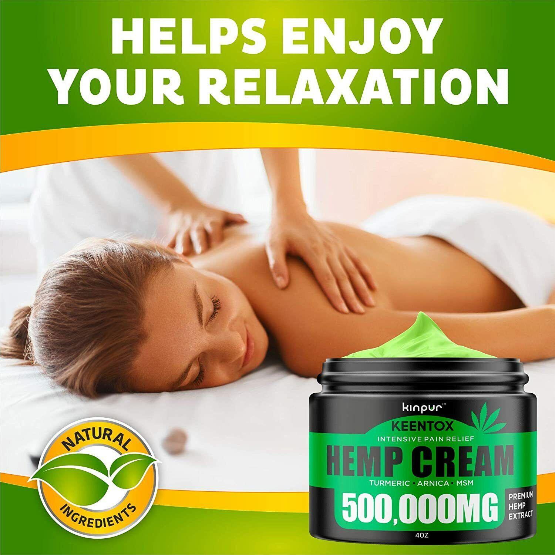 KINPUR KEENTOX Intensive Pain Relief HEMP CREAM 500,000 Turmeric Arnica MSM 4 oz
