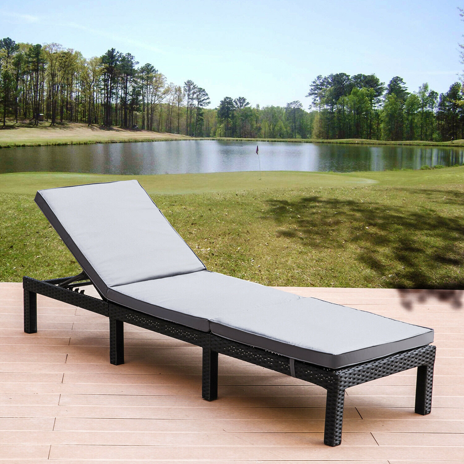 Garden Furniture -  Rattan Sunlounger Garden Outdoor Recliner Furniture with Removable Grey Cushion