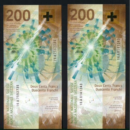 SWITZERLAND 200 FRANCS 2018 (2016) !!!FIRST A SERIES!!! P-NEW UNC
