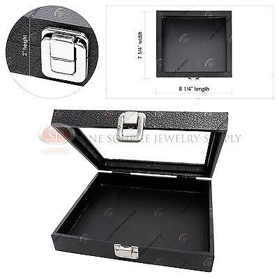 Half-size Jewelry Organizer Glass Top Wood Display Case Travel Presentation