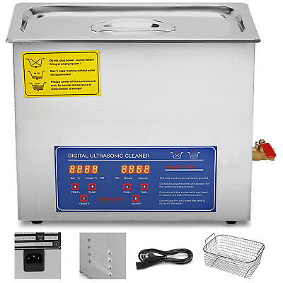 10l Ultrasonic Cleaners Cleaning Equipment Led Display W Heater Brushed Tank