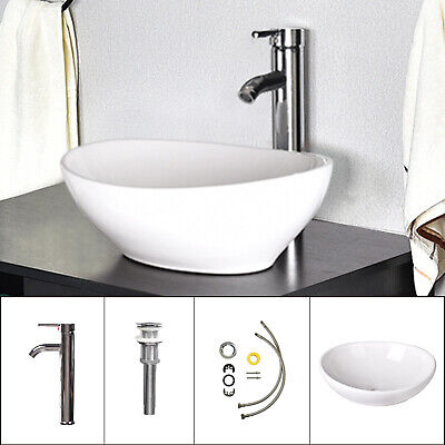 Bathroom Vessel Sink Ceramic Basin Bowl w/ Faucet Pop-up Drain Combo Oval White