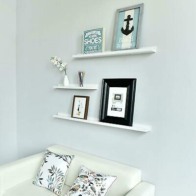 3 Floating Display Ledge Shelves Wall Mount Rack Bookshelf Storage White