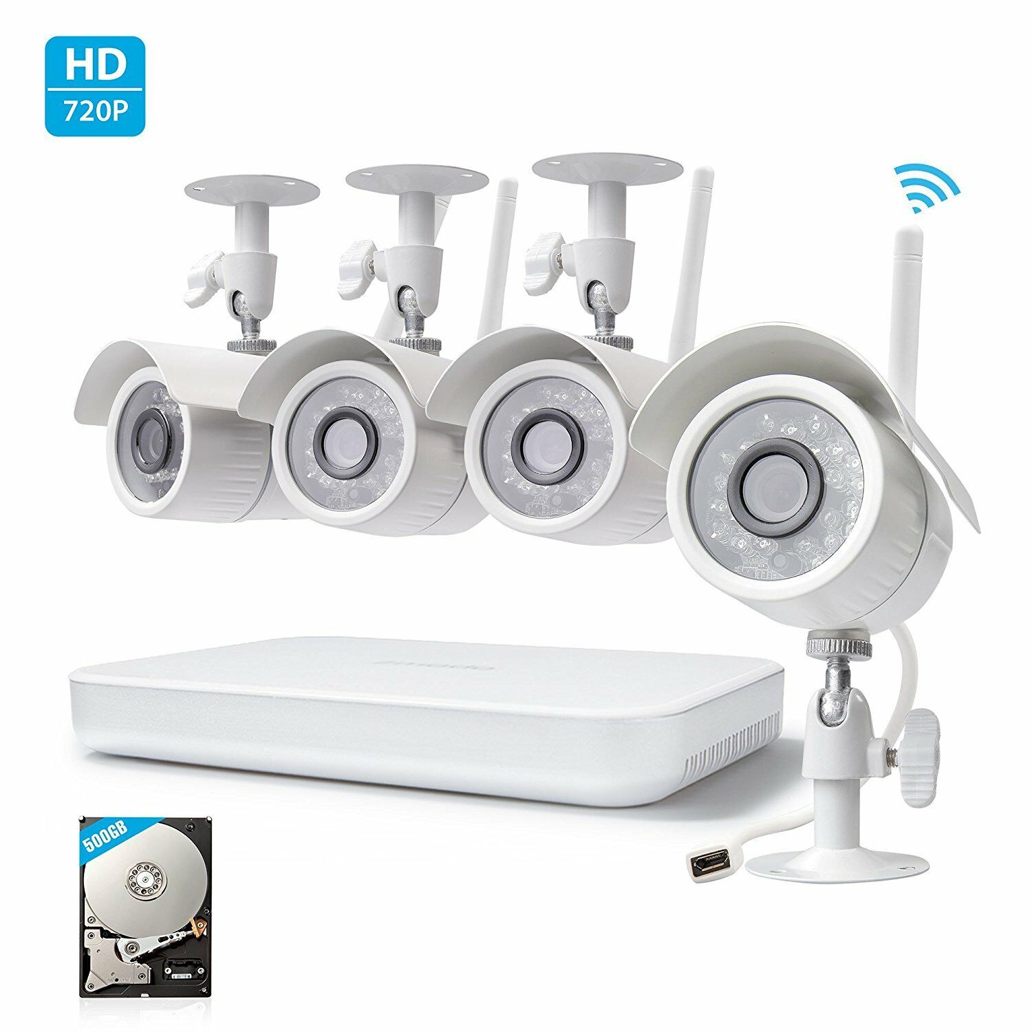 Zmodo 4 WiFi IP 720p HD Network Outdoor Security Camera NVR System 500GB