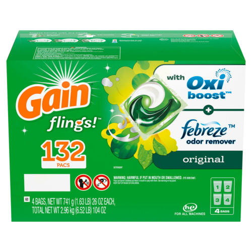 Gain flings! +AromaBoost Laundry Detergent Pacs, Original (132 ct) FREE SHIPPING