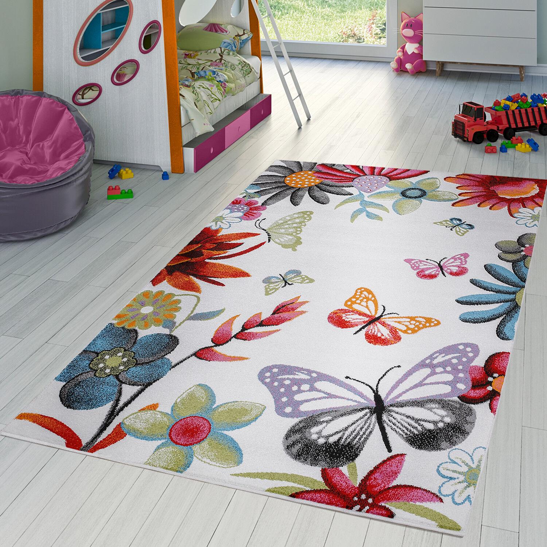 Kinderteppich Multicolour Schmetterling Bunt Creme Türkis Creme Blau Pink Grau