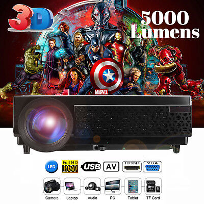 LED 96+ 5000 lumens 1080P WIFI LED Projector Home Theater for Android HDMI-Black