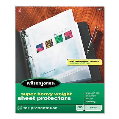 Wilson Jones Top-loading Super Heavy Sheet Protectors Letter 50box 21400