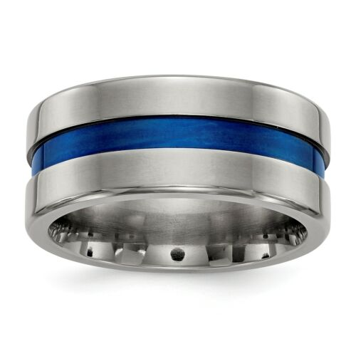 Perfect Jewelry Gift Edward Mirell Titanium Blue Anodized 10mm Band