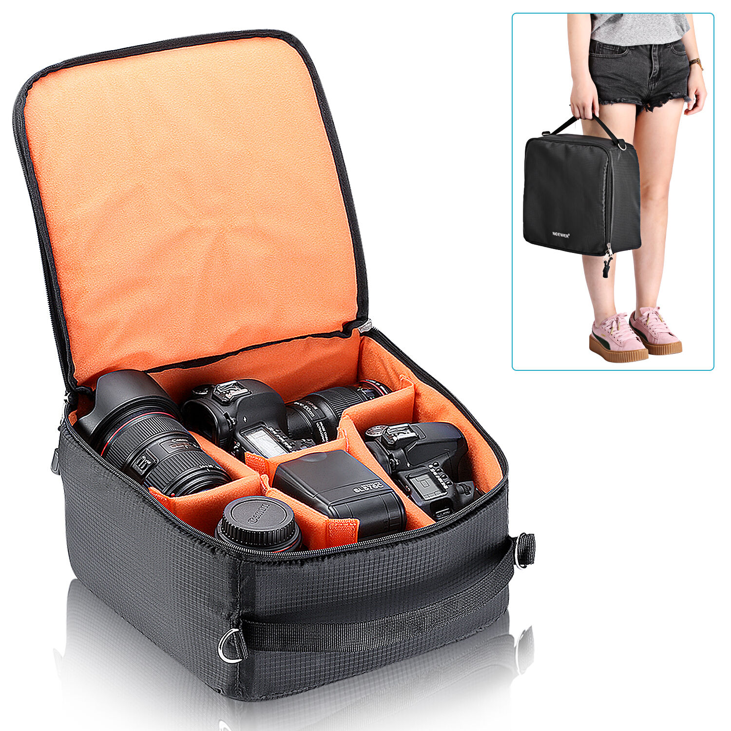 Flexible Partition Camera Padded Bag for DSLR Camera and Acc