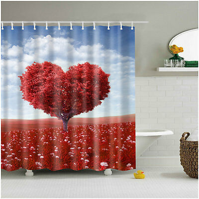Heart Shower Curtain (Shower Curtain Heart Shaped Oak Tree of Love and Grass Bath Curtains 12)