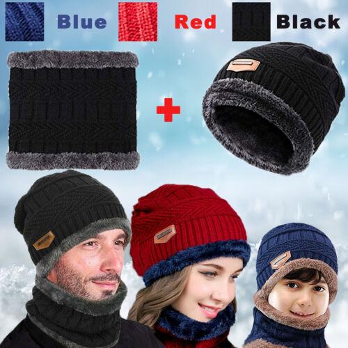 Men Women Kids Winter Beanie Hat Warm Wool Balaclava Fleece Ski Cap+Scarf Set US