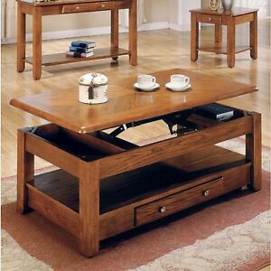 New Lift Top Storage Cocktail Coffee Table Oak Finish Furniture with Casters