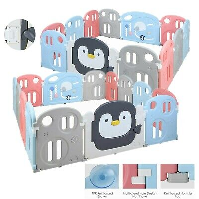 12/14 Panel Baby Playpen Penguin Fence Kids Activity Center Play Yard Large Size