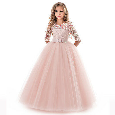 Girls Lace Embroidered Party Princess Tulle Pageant Fancy Bridesmaid Dress ZG8 (Fancy Party)