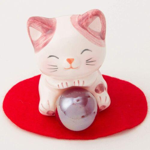 Sunart Maneki Neko Happy Fortune Cat Angel/ Pink 4.5×5.5×6.5cm