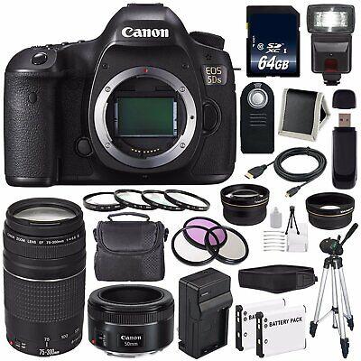 Canon EOS 5DS DSLR Camera (Intl Model) 0581C002 + Canon EF 75-300 III+ EF 50mm f