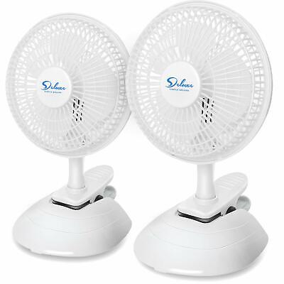 2PACK 6-inch Clip On Desktop Table Stationary Electric Fan with Clamp & -