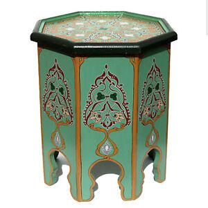 Marocain table oriental gu ridon peint la main bois khadira for Table a the marocaine
