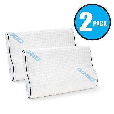 Plixio Memory Foam Contour Pillow- Hypoallergenic Bamboo Cover Standard (2 Pack) ()