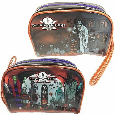 Kreepsville Toxic Toons Halloween Make Up Bag Black Graveyard Witch Ghost
