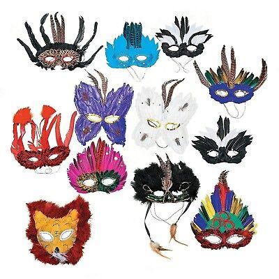 Fun Express Deluxe Feather Mask Assortment (1 Dozen) Discontinued by manufact... - Halloween Express Masquerade Masks
