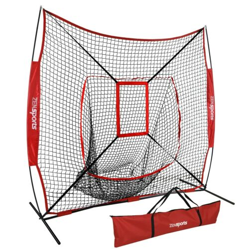Baseball Practice Net 7×7 Strike Zone Target + Weather Resistant Batting Tee Baseball & Softball