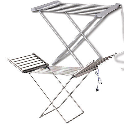 Heated Clothes Airer Dryer Portable Indoor Horse Rack Laundry Folding Washing
