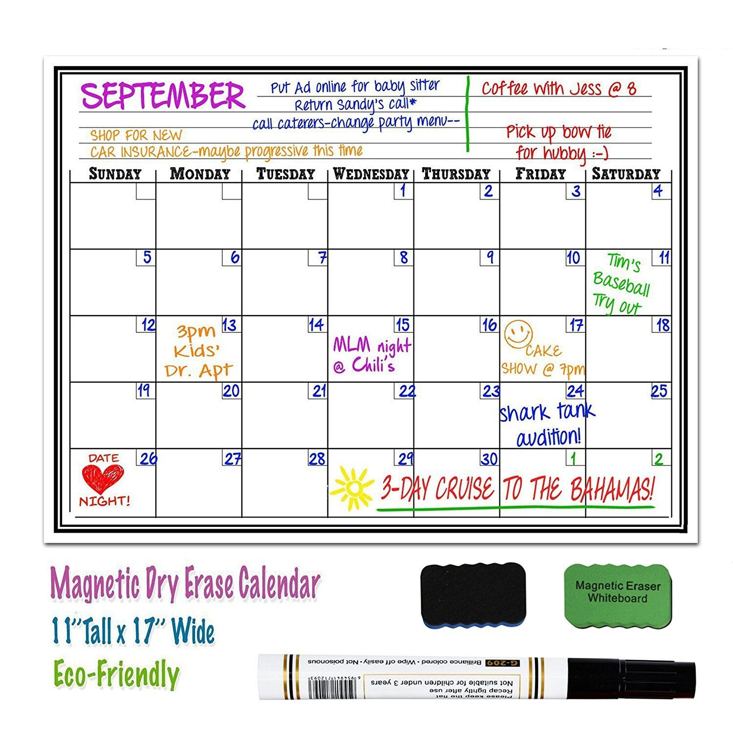 picture regarding Monthly Organizer identify 17 x 11 Magnetic Dry Erase Fridge Calendar Board