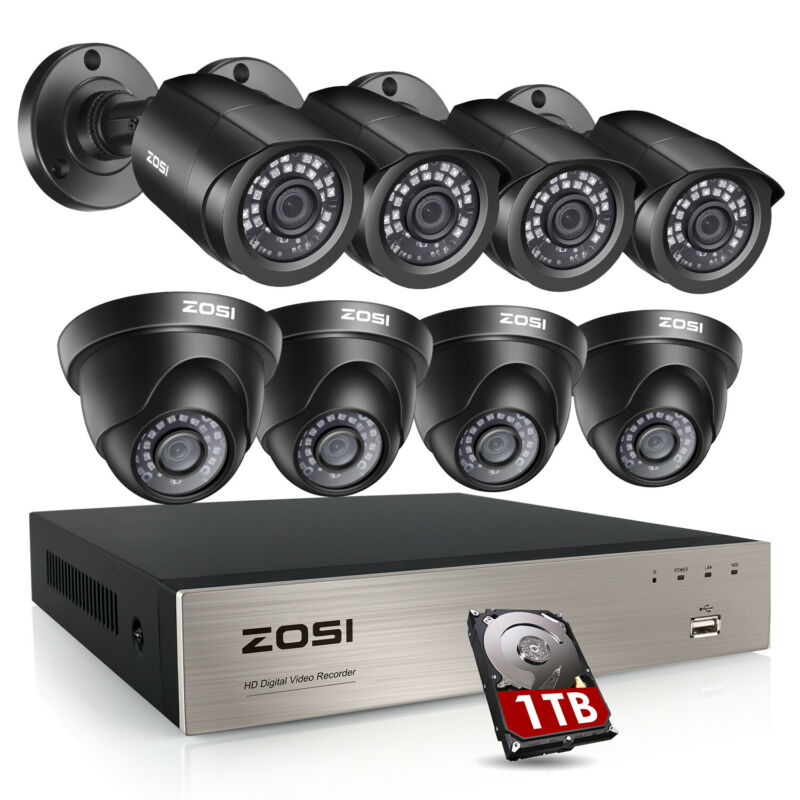 ZOSI 8CH H.265+ 1080P HDMI CCTV DVR 2MP HD Outdoor IR Security Camera System Kit