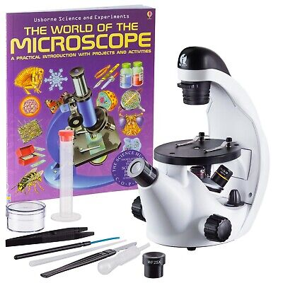 Iqcrew 40x-500x Inverted Microscope W Microscope Book For Stem Students Kids