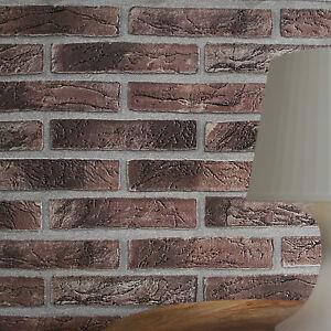 maison effet brique 3d papier peint brique en rouge marron tonalit s ebay. Black Bedroom Furniture Sets. Home Design Ideas