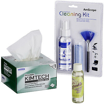 Amscope Microscope Camera Cleaner Cleaning Kit For Lens Body Tv Or Computer