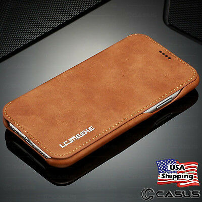 Leather Stand - Luxury Leather Wallet Stand Thin Slim Skin Case Cover for iPhone X & 8/7/6 Plus
