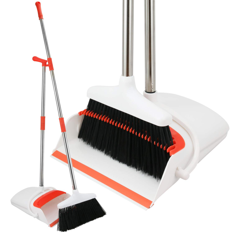 Heavy Duty Metal Broom and Dustpan Set - 80% Stronger Kitche