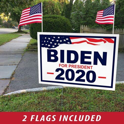 "Joe Biden for President 2020 Yard Signs w/ H-Frames 18""x12"" (Single, Flags)"
