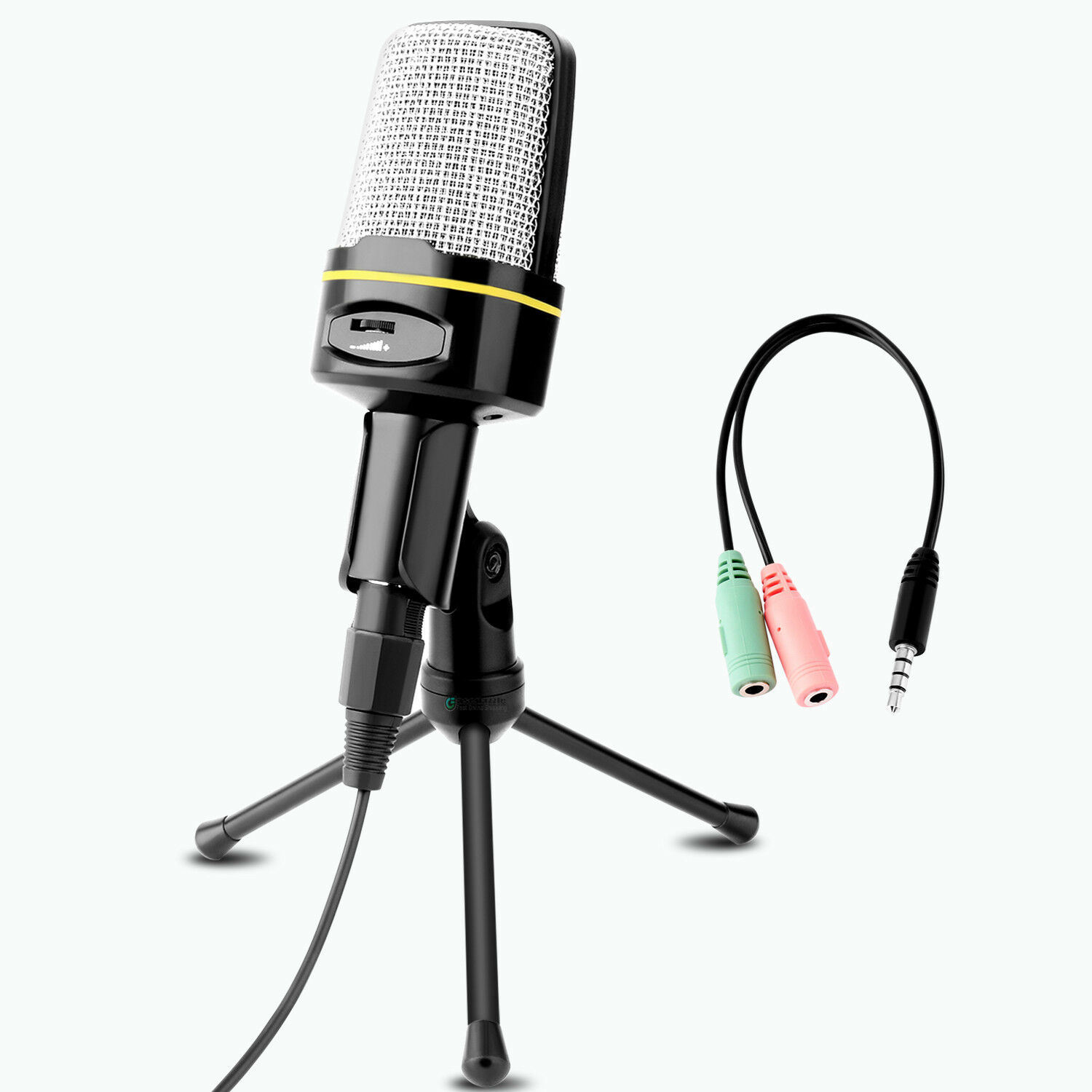 Microphone With Mini Stand Tripod Audio Recording For Computer PC Phone Desktop