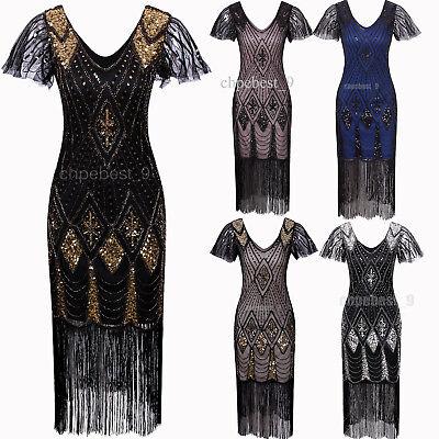 Women's 1920s Gatsby Inspired Sequin Beads Long Fringe Flapper Dresses Plus Size - Gatsby Attire For Women