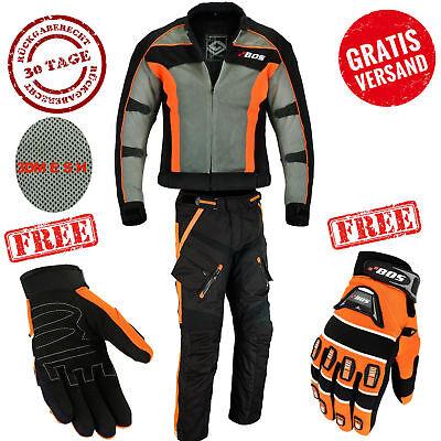 Motorradkombi Herren Motorrad Textil Kombi, Jacke und hose schwarz und orange ()
