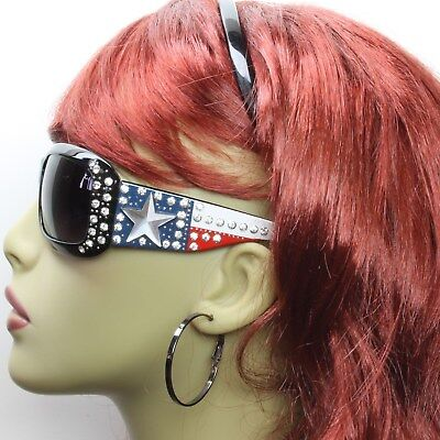 Womens Sunglasses Fashion Rhinestone Flag Star Western Patriotic Bling Frame  - Flag Frames