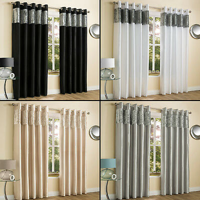 - CRUSHED VELVET FAUX SILK PAIR OF EYELET LINED CURTAINS CREAM SILVER GREY BLACK