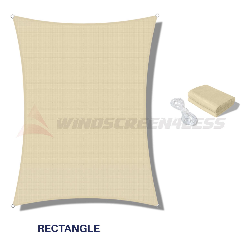 Waterproof Rectangle Sun Shade Sail Fabric Canopy Patio Awning 8'/10'/12'/16'